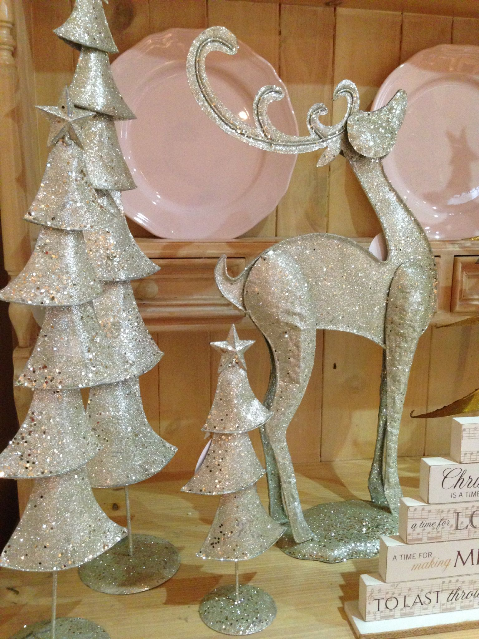 Large Champagne Silver Glittered Metal Christmas Tree Contemporary